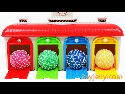 Learn Colors Tayo the Little Bus Mesh Squishy Slime Balls Kinder Surprise Egg Toys Baby Finger Song