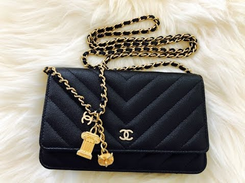 65bb3d70f6c899 Chanel Chevron Classic Quilted WOC, which features the limited edition Greek  Charm