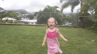 Gabby running and smiling