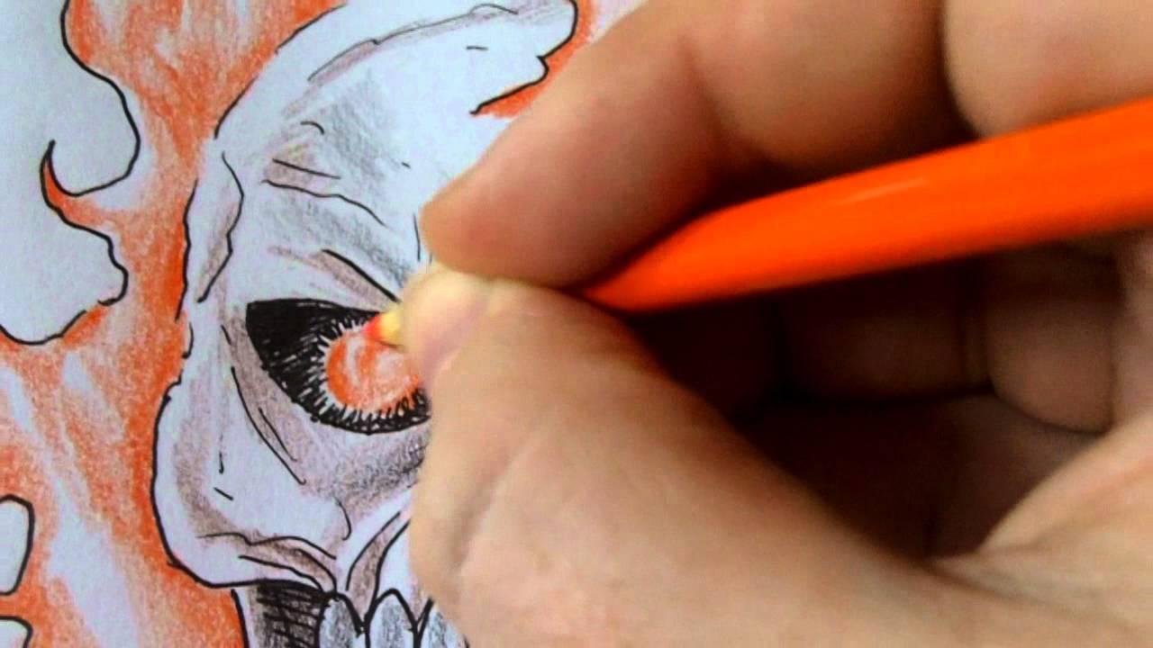 How To Draw A Ghost Rider Skull Coloring Art Youtube
