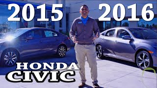 2016 honda civic vs 2015 honda civic comparison 9th 10 generation changes