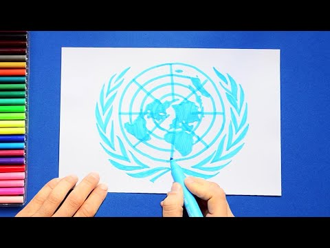 How to draw and color the United Nations Symbol or Emblem