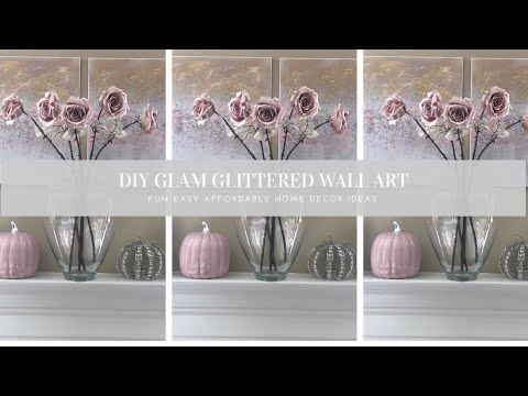 DIY Glam Glittered Wall Art With Crushed Glass | Z Gallerie Inspired DIY | Easy Home Decor Ideas