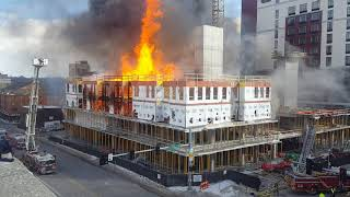Fire in downtown Iowa City, Iowa