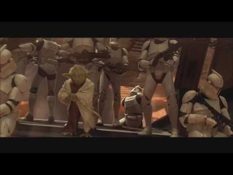 Battle of Geonosis but every time something dies or a laser hits a lightsaber it plays watch those w