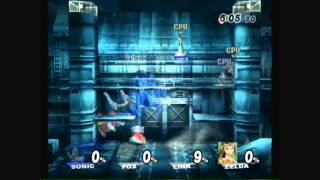 Brawl Hacks - Giant Growing Sonic and Fox v.s. Link and Zelda