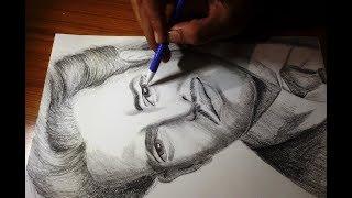 Drawing Guru Dutt. Last drawing of 2017. Farewell.