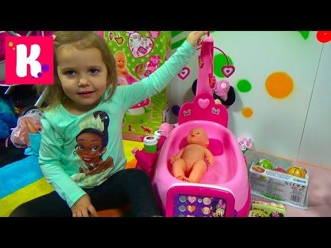 Люлька убаюкивалка для пупсика с музыкальная распаковка играем куклой doll care center Smoby