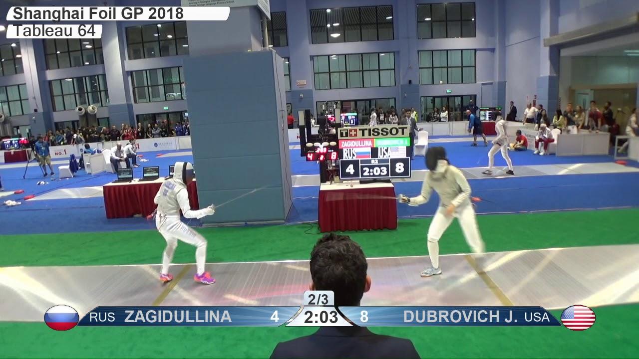 Fe 2018 457 T64 18 F Individual Shanghai Chn Gp Green Dubrovich Usa Vs Zagidullina Rus Fencing Vision