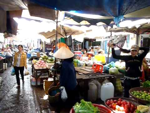 Market Scene in Buon Me Thuot, Central Highlands, Vietnam