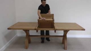 Country Oak 1.8 - 2.3m Cross Leg Extending Oak Dining Table