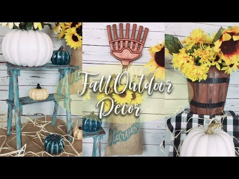 DIY 3 DOLLAR TREE FALL OUTDOOR DECOR | DIY RUSTIC STEP LADDER, FAUX WOOD PLANTER & FRONT DOOR DECOR
