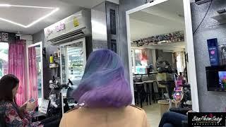 สีม่วงพาสเทล+ไฮไลต์เขียวพาสเทล #ร้านทำสีผม #ร้านยืดดัดผมวอลลุ่ม #Banphomsuaybandai #ร้านทำผมเชียงราย