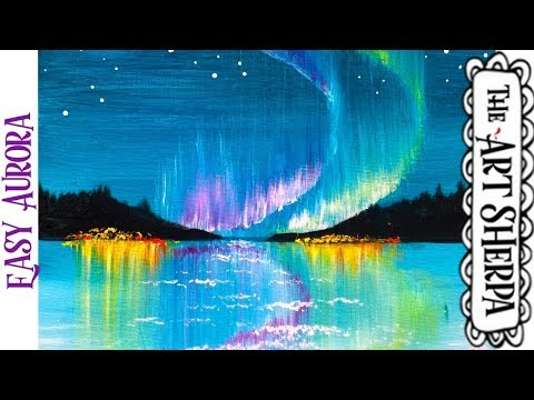 Easy Aurora Borealis  Acrylic painting tutorial step by step Live Streaming