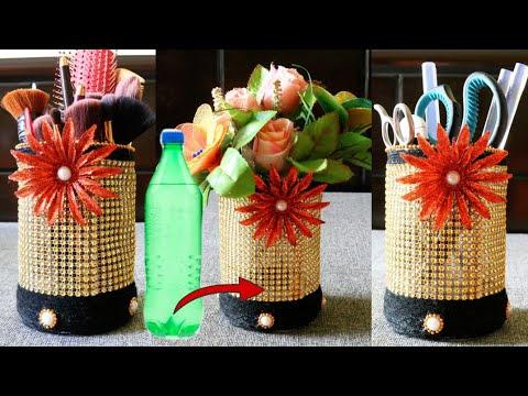 Best Out Of Waste Plastic Bottle Flower Vasemakeup Stuffpen Holder