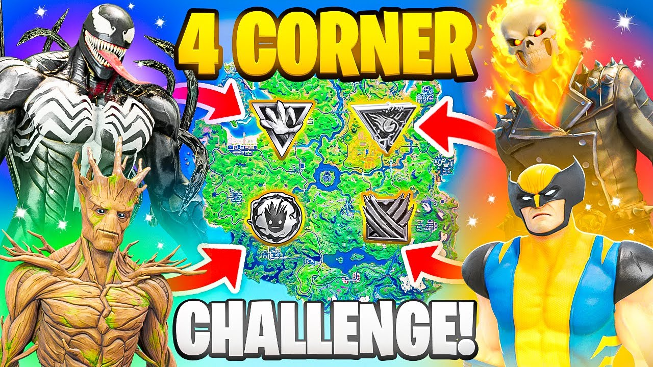 The 4 CORNER MYTHIC BOSS Challenge in Fortnite (Venom, Ghost Rider, Groot, Wolverine)