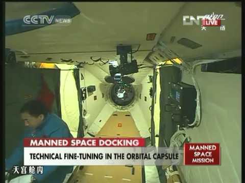 CCTV english Shenzhou 9   Tiangong 1 Hatch Opening Coverage 18 6 12