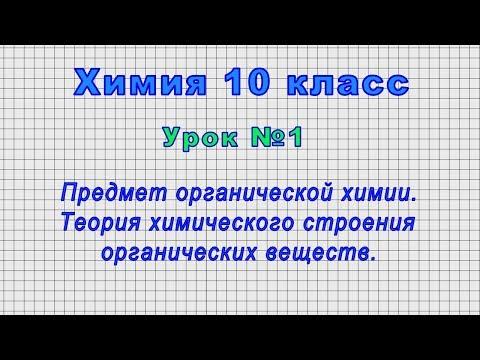 Химия 10 класс (Урок№1 - Предмет органической химии. Теория химич. строения органических веществ.)