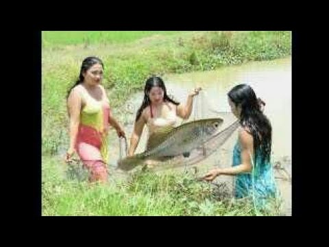 hunting fish with a beautiful girl #asia daily life