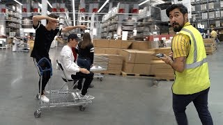 trying to get kicked out of ikea shopping cart surfing