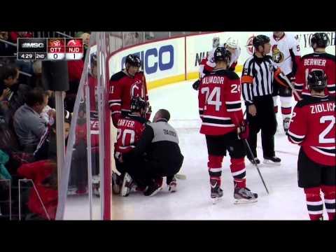 Ryan Carter injury in 3rd Feb 18 2013 Ottawa Senators vs NJ Devils NHL Hockey
