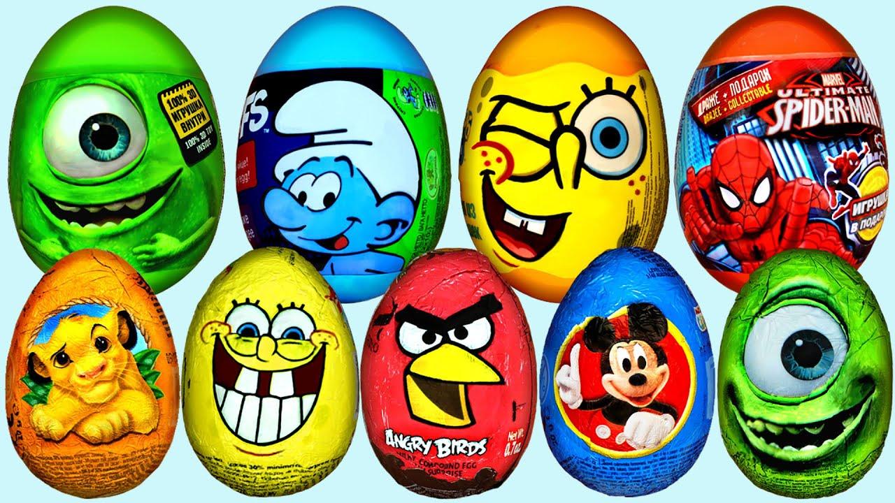 33 Surprise Eggs Kinder Surprise Spongebob Mickey Mouse Disney Pixar Cars Eggs