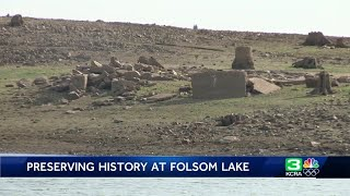 Formerly underwater artifacts old architecture exposed at Folsom Lake State Recreation Area