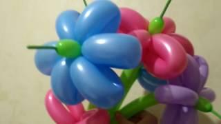 Как сделать простой цветок из шариков