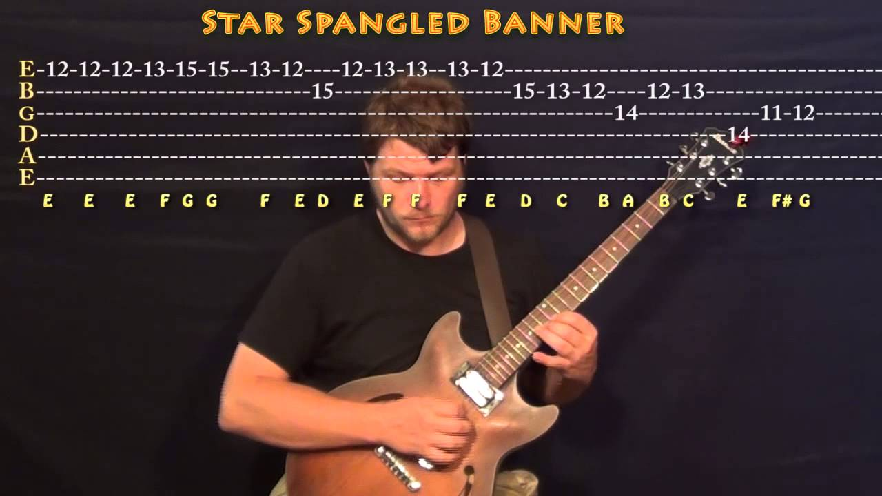 The Star Spangled Banner National Anthem Lead Guitar Cover Lesson