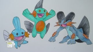 How to draw Pokemon: No. 258 Mudkip, No. 259 Marshtomp, No. 260 Swampert