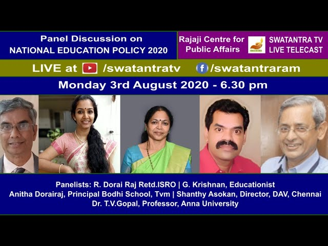 'National Education Policy 2020' | Monday 3rd Aug 6.30 PM