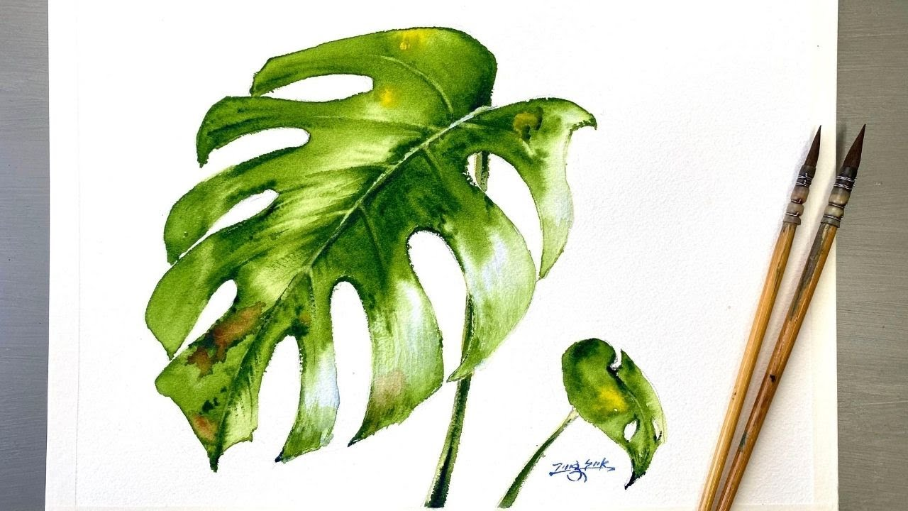 Easy Watercolor Painting   Monstera Plant Leaves Tutorial for Beginner Step  by Step.