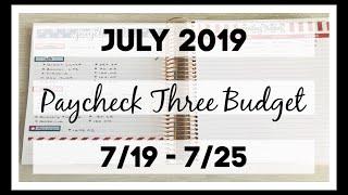 Paycheck Three Budget | July 2019 | Erin Condren & Planner Kate |