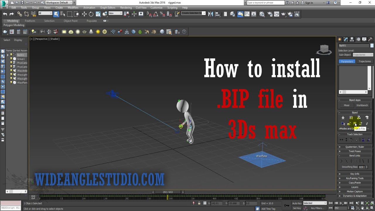 How to import  BIP file in 3ds Max