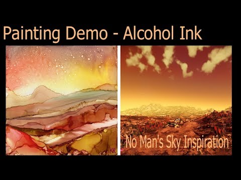 #4 Alcohol Ink Abstract/Landscape Painting Demo on tile – kristarobertsonart