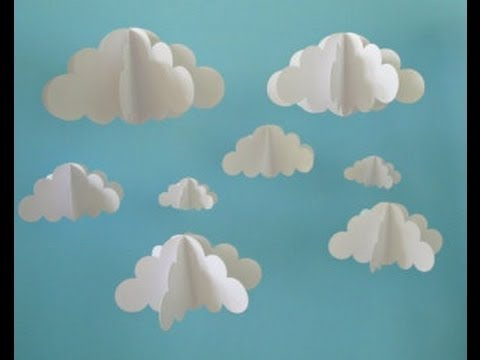 Kids 3d cloud diy using shaving cream youtube for How to make a paper cloud