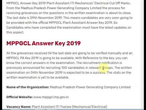 MPPGCL Answer Key 2019 Plant Assistant ITI Mechanical/ Electrical