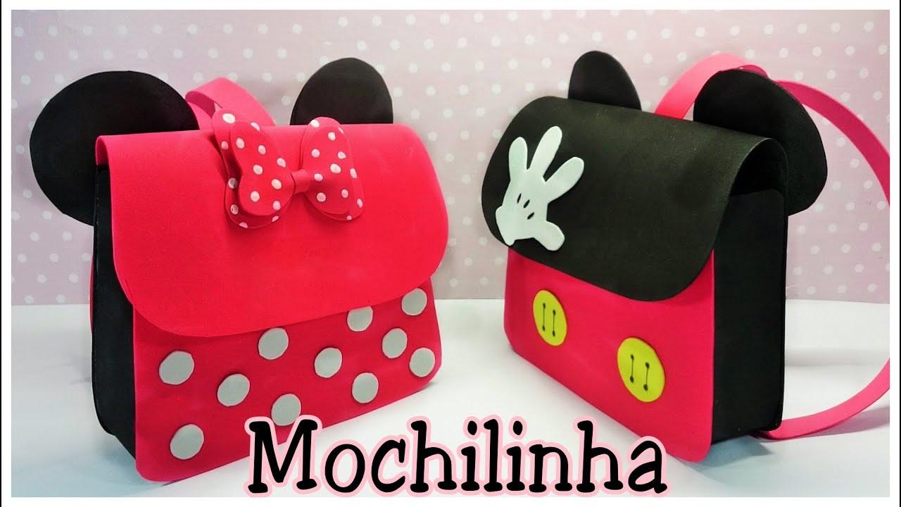 Como fazer mochilinha da Minnie e mickey em EVA - YouTube 3c937cc0cb4