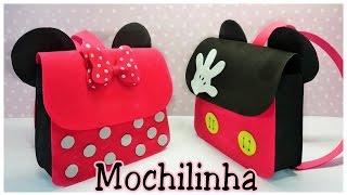 Como fazer mochilinha da Minnie e mickey em EVA – Artesanato Viviane Magalhães