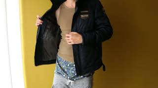 Showing my PME Legend nylon jacket with satin boxers
