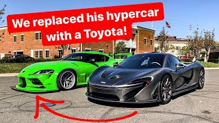TRADING CARS WITH A BILLIONAIRE FOR A DAY! 2020 TOYOTA SUPRA vs MCLAREN P1