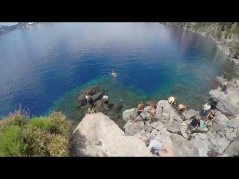 diving and swimming, Crater Lake, 4k