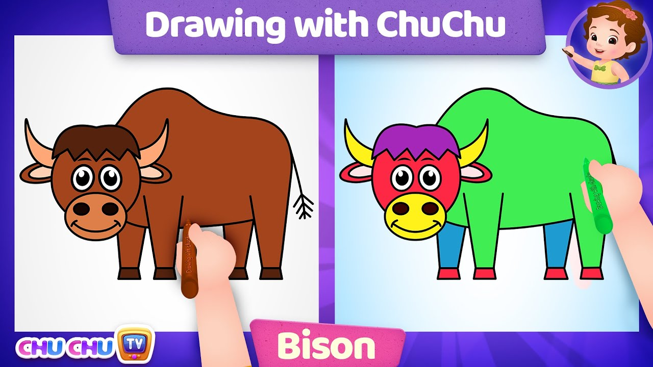 How to Draw a Bison? - Drawing with ChuChu - ChuChu TV Drawing for Kids Easy Step by Step