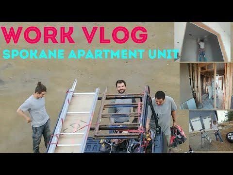 Spokane apartments/dorms. Work vlog. Drywall hanging construction show