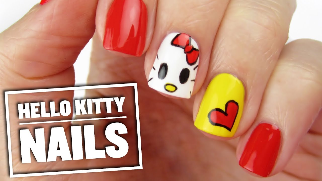 Cute Hello Kitty Nail Art Design - YouTube