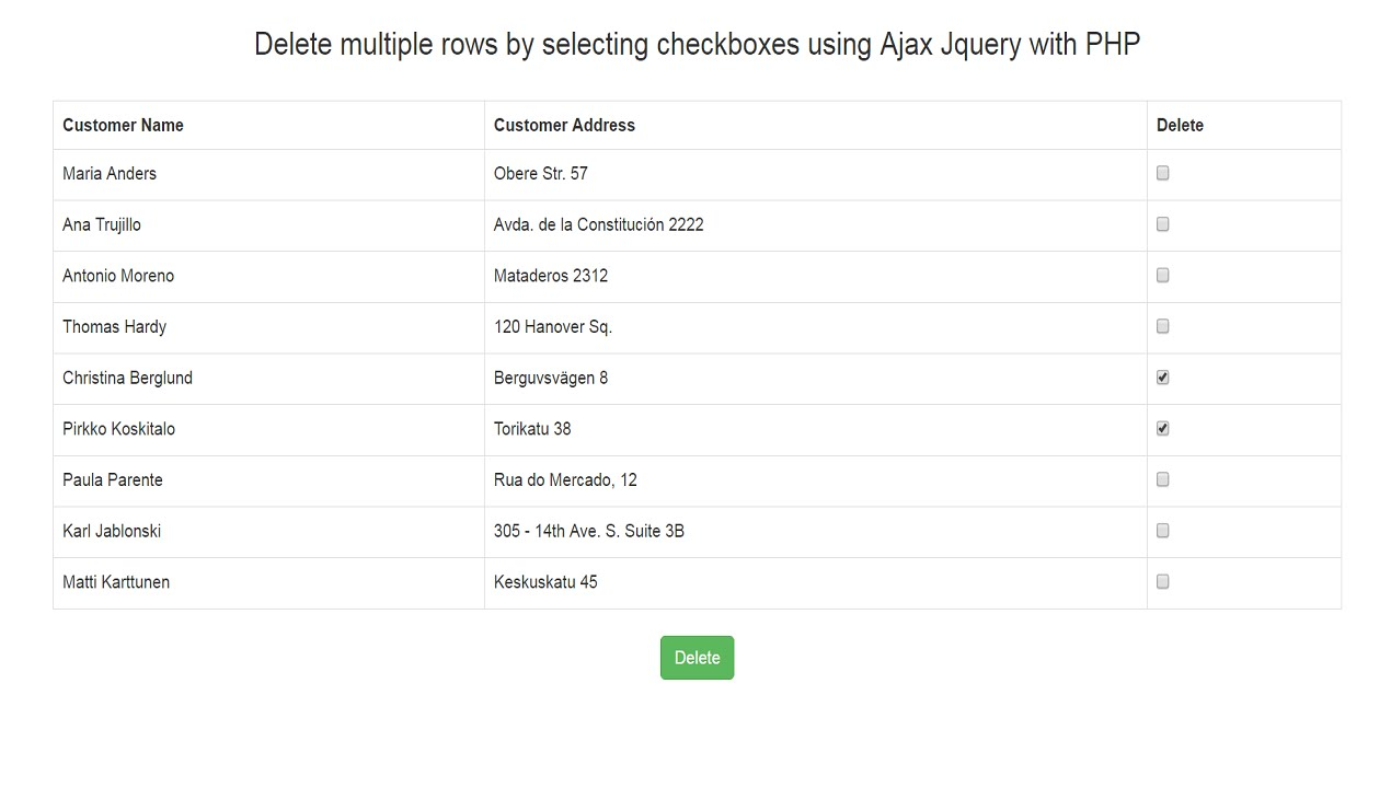 Ajax Delete multiple data with checkboxes in PHP Jquery Mysql