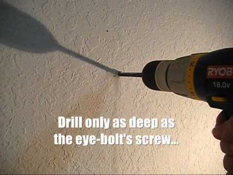 How to install Eye Bolts to hang your hammock indoors - stick frame wall (wooden stud wall)