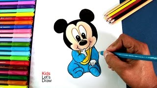 Cómo dibujar a Bebé Mickey Mouse   How to draw Baby Mickey Mouse