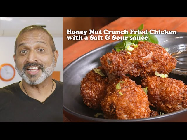 Honey Nut Crunch Cereal Fried Chicken w/ a salt and sour sauce. Recipe in Description below.