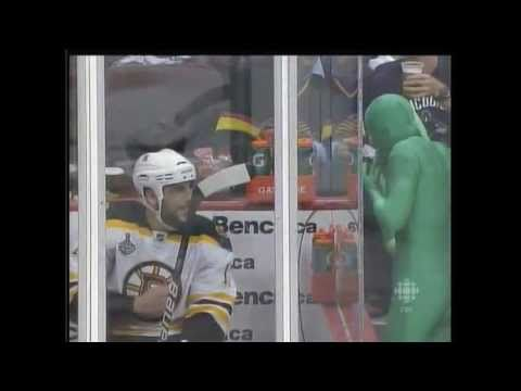 Milan Lucic has words with the Green Men